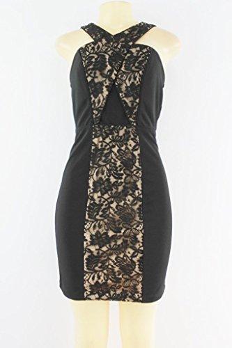Cross Criss Dress Trim (City Studio Womens Criss Cross Back Lace Trim Cocktail Dress Black 5)