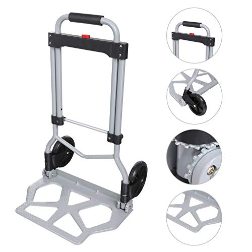 Voluker 220lbs Portable Heavy Duty Aluminum Folding Hand Truck and Dolly Two-Wheel Luggage Cart (US Stock) ()