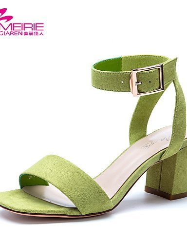 ShangYi Womens Shoes Faux Leather/Leatherette Chunky Heel Heels/Open Toe Sandals Office & Career/Casual Black/Green/Pink Green