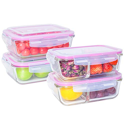 [4-Pack,36oz] Glass Meal Prep Containers - Food Prep Containers with Lids Meal Prep - Food Storage Containers Airtight - Lunch Containers Portion Control Containers - BPA Free Container