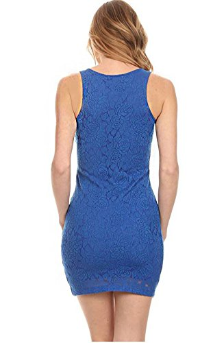 Solid Royal Lace Mini Blue Sexy Floral Bodycon Dress Floral Solid rRTrq6