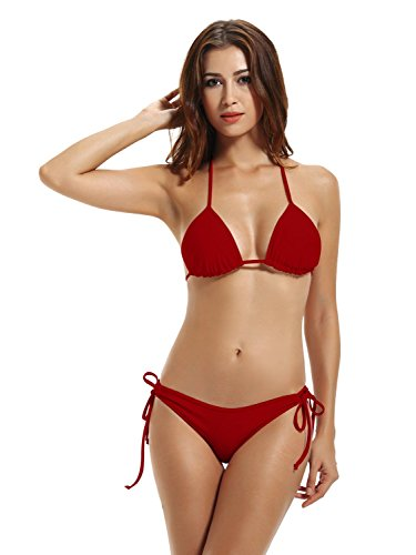 zeraca Women's String Triangle Bikini Bathing Suits (XS2, Dark Red)