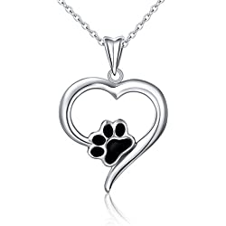 """925 Sterling Silver Forever Love Heart Puppy Paw Pendant Necklace for Women, Rolo Chain 18"""""""