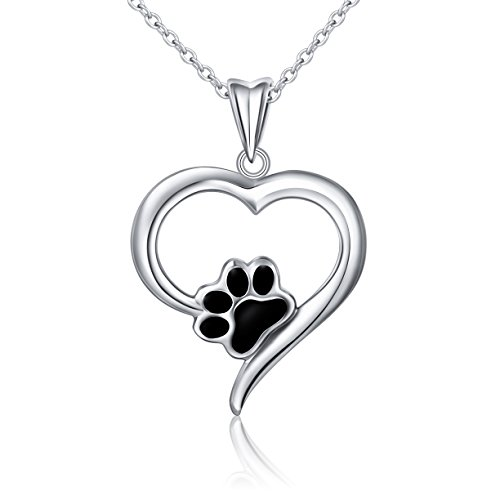 SILVER MOUNTAIN 925 Sterling Silver Forever Love Heart Puppy Paw Pendant Necklace for Women, Rolo Chain 18