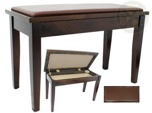 30 Inch Walnut Satin Long Upright Duet, Smooth Padded Leatherette Piano Bench w/ Music Storage Square Tapered Legs