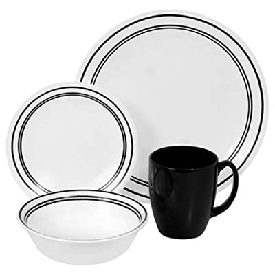 "Corelle Livingware 16-Piece Dinnerware Set,Classic Cafe Black, Service for 4 - Service for 4 includes: 4 each 10-1/4"" Dinner Plates, 6-3/4"" Bread and Butter Plates, 18-Ounce Soup/Cereal Bowls, 11-Ounce Stoneware Mugs Made with break and scratch resistant patented Vitrelle glass technology Space saving design: lightweight and thin, yet extremely durable - kitchen-tabletop, kitchen-dining-room, dinnerware-sets - 41etVMggA1L. SS400  -"