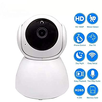 Mobimint Wireless V380 HD 1080P Robot Camera with Cloud Based Storage,  Surveillance 2 Way Communication Security, Night Vision CCTV, SD Card  (White)