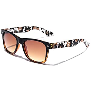 Fashion Animal Print Leopard Wayfarer Style Sunglasses - Black & Brown