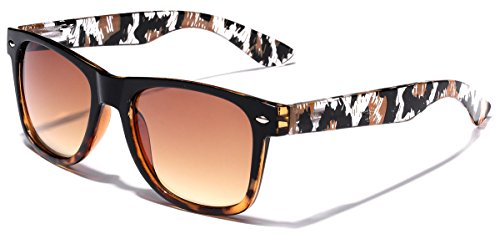 (Animal Print Ladies Retro Fashion Sunglasses - Black & Brown)