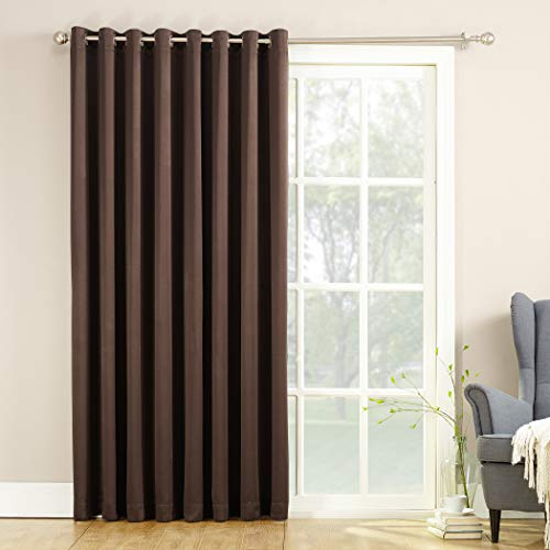 (Sun Zero Barrow Extra-Wide Energy Efficient Sliding Patio Door Curtain Panel with Pull Wand, 100