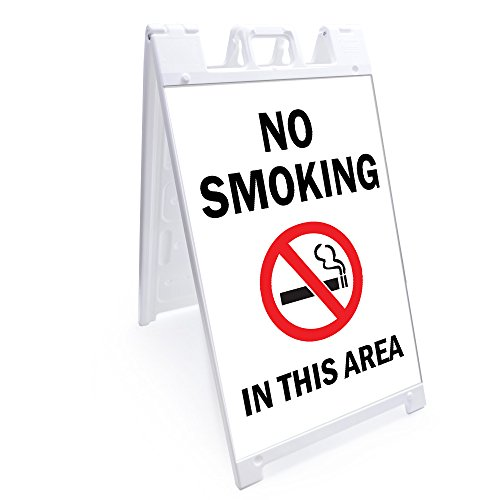 "A-frame No Smoking In This Area Sign With Graphics On Each Side | 24"" X 36"" Print Size 