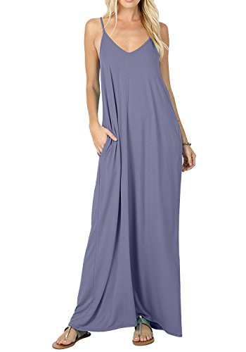 CALIPESSA Womens Summer Deep V Neck Sexy Plain Flowy Cami Slip Dress Daybreak XL ()