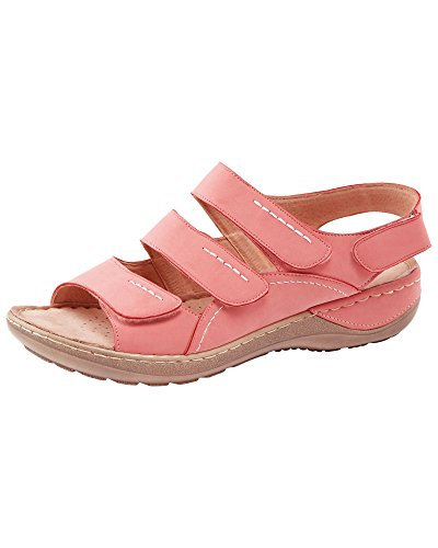 Cotton Traders Womens Ladies Adjustable Comfort Multistrap Sandals E Fit Peach 5