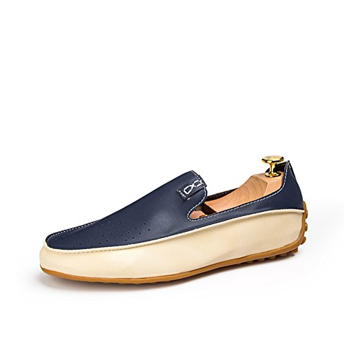 Go Tour Mens Casual Punching Penny Loafer Leather Moccasins Blue 46 TYLGjz