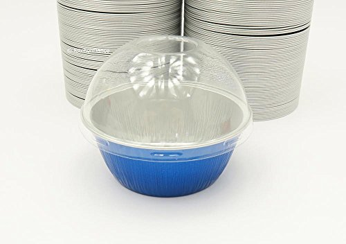 KitchenDance Disposable Aluminum Colored Baking Cups- Creme Brulee cups- Dessert Cups- 4 oz. Size with Lids (2000, Blue w/ High Dome Lids)