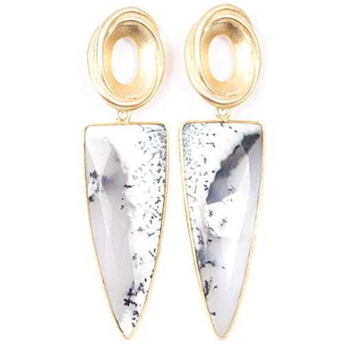 Gold Oval and Dendritic Opal Point Earrings - 2.75 Inches Long Handmade Earrings by Miller Mae Designs
