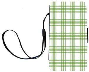 Rikki KnightTM Green Plaid on White Design Galaxy S4 PU Leather Wallet Type Flip Case with Magnetic Flap and Wristlet for Samsung Galaxy S4 i9500