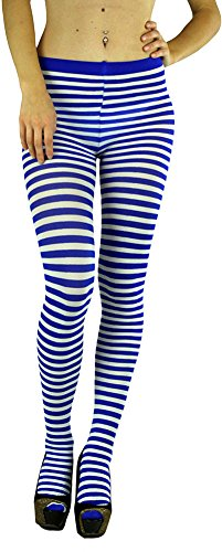 ToBeInStyle Women's Colorful Opaque Striped Tights Pantyhose Stocking Hosiery - White/Blue - One Size -