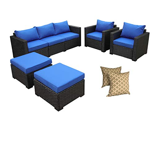 Rattaner Outdoor Wicker Sofa Set -5 Piece Patio PE Rattan Garden Sectional Conversation Cushioned Seat Couch Furniture Set Royal Blue Cushion (Royal Furniture Patio Garden)