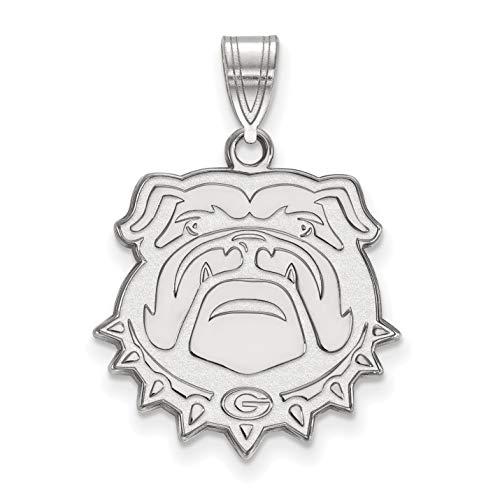 University of Georgia Bulldogs School Mascot Head Pendant in Sterling Silver 20x20mm