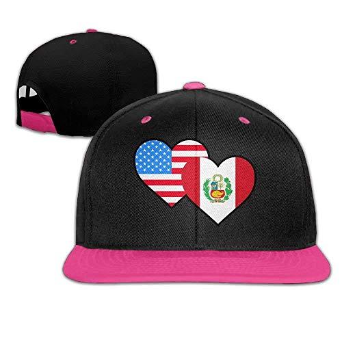 American Peru Heart Flag-1 Unisex Hip Hop Flat Brim Snapback Caps Contrast Color Baseball Cap Hats for Women Men