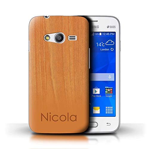 Personalized Custom Wood Grain Effect Case for Samsung Galaxy Ace 4 Neo/G318 / Beech Wood Design/Initial/Name/Text DIY Cover