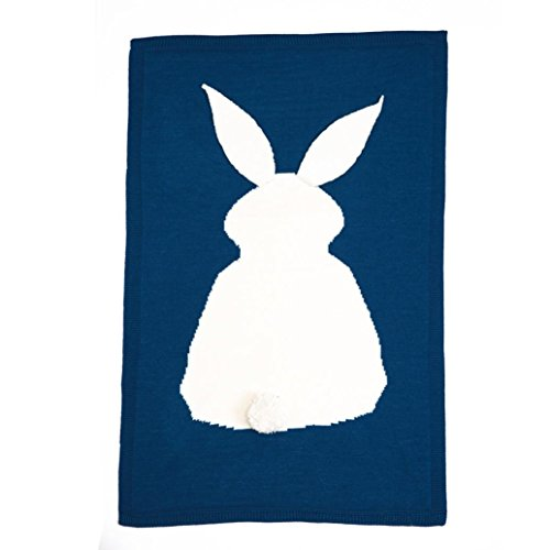 [AMA(TM) Baby Kids Rabbit Knitting Blanket Bedding Crib Wrap Swaddle Blanket (Blue)] (Child Frog Costume Pattern)