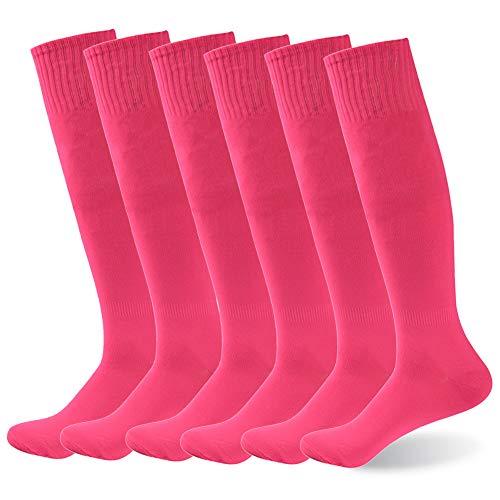 82b3e65148 Basketball Keen High Socks, diwollsam Women's Long Tube Breathable Colorful Cheerleading  School Uniform Casual Sport Rugby Soccer Socks 6 Pairs(Hot Pink)