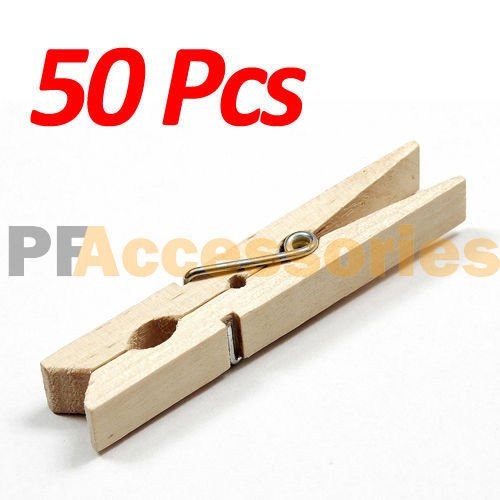 50 Pcs Wood Clothespins Wooden Laundry Clothes Pins Large Spring Regular Size