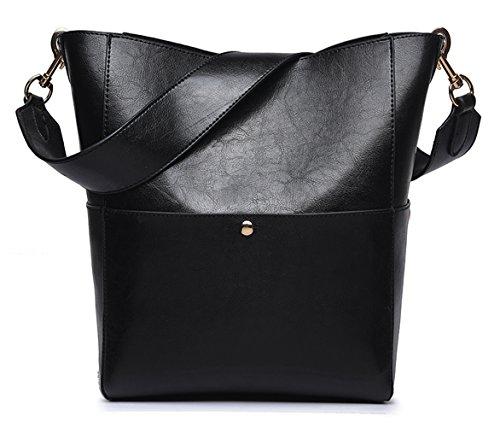 Women's Retro Leather Handbag from Dreubea, Hobo Tote Shoulder Purse Bucket Bag (Bucket Tote Hobo Handbag)