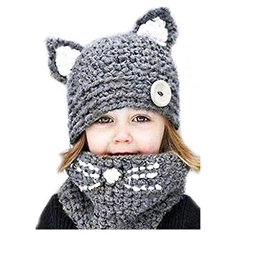 VAQM Kids Hat Girls Boys Winter Hats Warm Earflap Hood Scarves Animal Hat Scarf Beanie Scarf Knitted Cap (Kids Hat Scarf for Grey for 2-8 Years)
