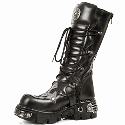 S1 New BLACK Mettalic BLACK 403 Black M Unisex Leather Rock ACERO Boots BBqWTwOx