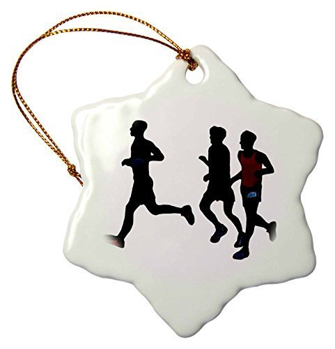 (Novelty Christmas Decorations Black Silhouette Of Athletic People Runners Running Some Color Porcelain Snowflake Ornament Craft Crafts Xmas Tree Hanging)