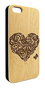 Genuine Maple Wood Organic Flower Filigree Heart and Butterfly Snap-On Cover Hard Case for iPhone 5C
