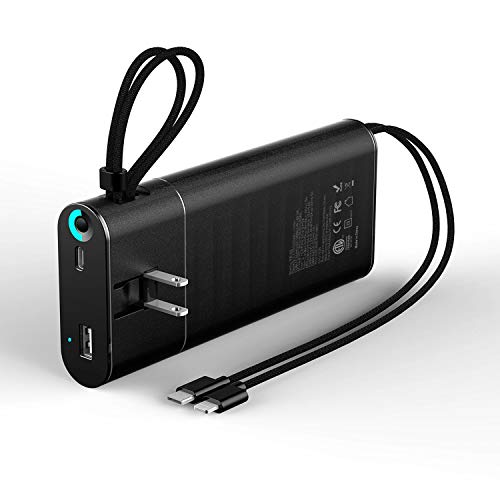 20000mAh Power Bank, External Battery Pack with Quick Charge 3.0, Power Delivery 18W, USB Output Port(Total 5.1A), Built- in AC Plug, Charging Cables Compatible with iPhone, iPad, Samsung Galaxy Black