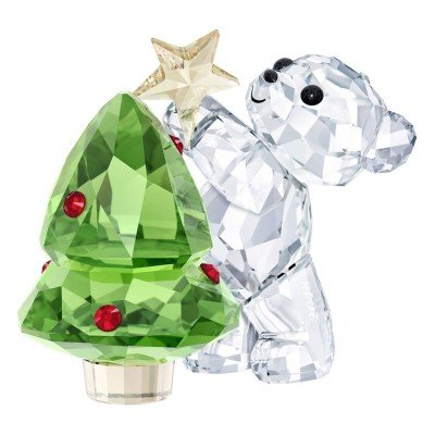 - Swarovski Kris Bear-Christmas, A. E. 2018, Clear Crystal, Green and red