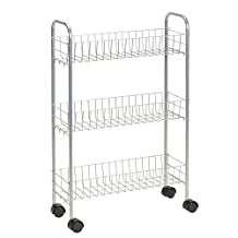 Household Essentials Slim Line 3-Tier Metal Storage Cart, Satin Silver