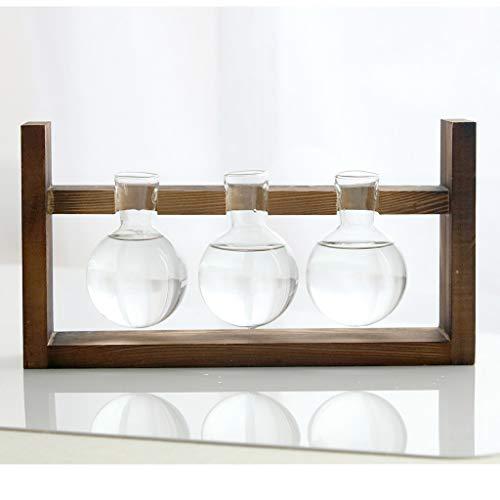- NszzJixo9 Creative Hydroponic Plant Transparent Vase Wooden Frame Coffee Shop Room Decor Suitable for Home Desk Decoration Wooden Craft Ornaments (C)