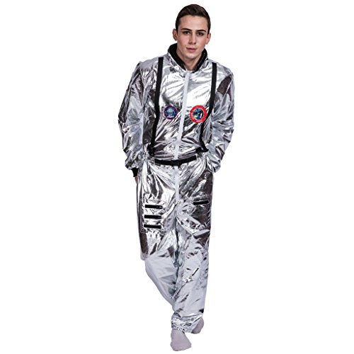 EraSpooky Men's Astronaut Spaceman Costume(Silver, Medium) -