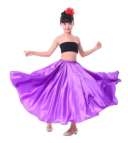 Girl Children Color Stretched Waist Performance Circle Skirt Belly Dance Dress (Large, Purple)