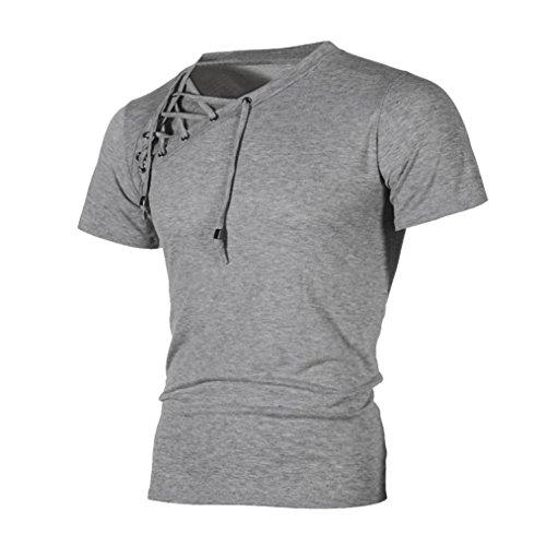 Bluestercool 2018 Printemps et Été Hommes T-Shirt Manches Courtes Bandage Tops Gris