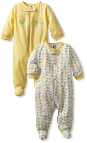 Gerber Unisex-Baby  2 Pack Sleep N Play Zip Front Ducks