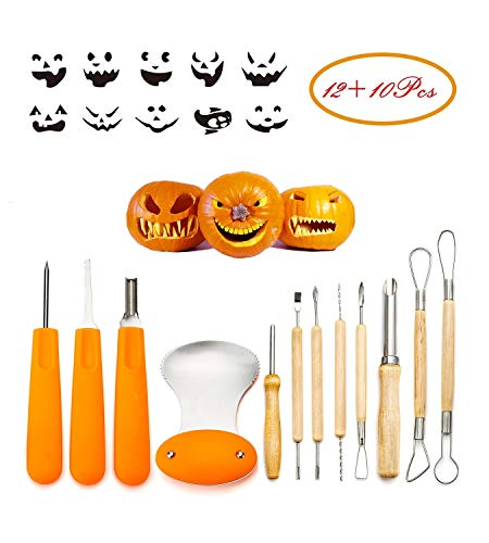 Professional Pumpkin Carving Tool Kit-Includes 12 Carving Tools And 10 Carving Stencils, Heavy Duty Stainless Steel Tool Set, Used As a Carving Knife For Pumpkin Halloween Decoration -