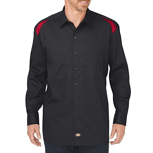Dickies Occupational Workwear LL605BKERXL LL605 Performance Long Sleeve Team Shirt, Fabric, XL, Black/English - Shirt Flex Team