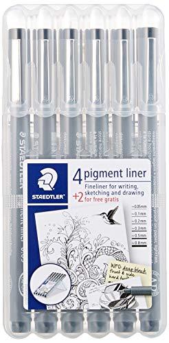 Staedtler 308 SB6P VE Pigment Liner 308 16 x 6 (4+2 Free) Black Pigment Ink Felt Tip Pens for Sketching/Drawing 0.5/0.1/0.2/0.3/0.5/0.8 mm by STAEDTLER (Image #1)