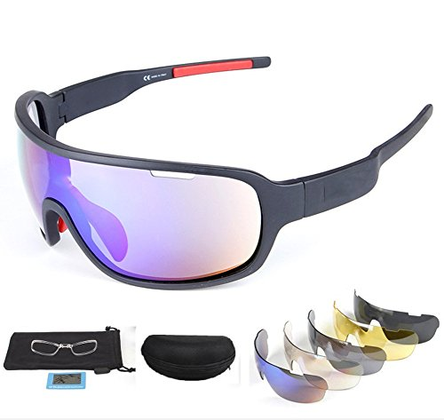 Price comparison product image Lorsoul Polarized Sports Sunglasses UV400 With 5 Interchangeable Lenes for Men Women Cycling Running Driving Fishing Golf Baseball Glasses (Black)