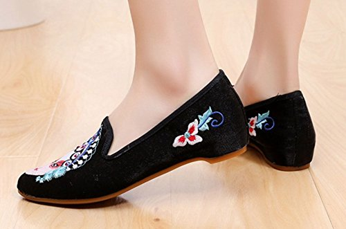 Avacostume Vrouwen Vintage Puntige Teen Chinese Traditionele Cultuur Geborduurde Flats Zwart