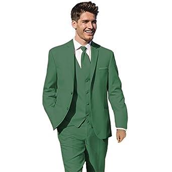 mys Hombre Justo lo Novio Boda Smoking Traje pantalón Chaleco Corbata Set Verde