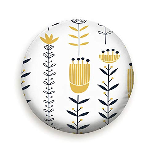 oktopstore Floral Yellow Flowers Spare Wheel Tire Cover Waterproof Dust-Proof Universal for Jeep,Trailer, Rv, SUV and Many Vehicle 14