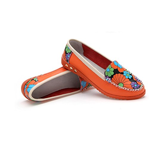 Scarpe Da Donna Viasa Stampa Su Tela Scarpe Slip On Scarpe Comfort Scarpe Basse Mocassini Arancione